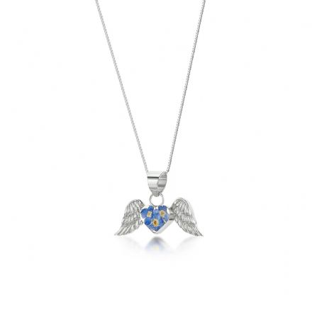 Remembrance Necklace, Forget Me Not Angel Wings (Optional Engraving)